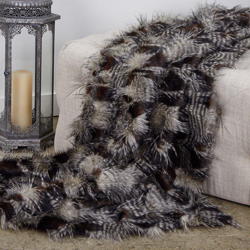 "Plutus Brands Porcupine Dark Brown and Beige Faux Fur Luxury Throw 60""W x 72""L (PBEZ1783-6072-TC)"