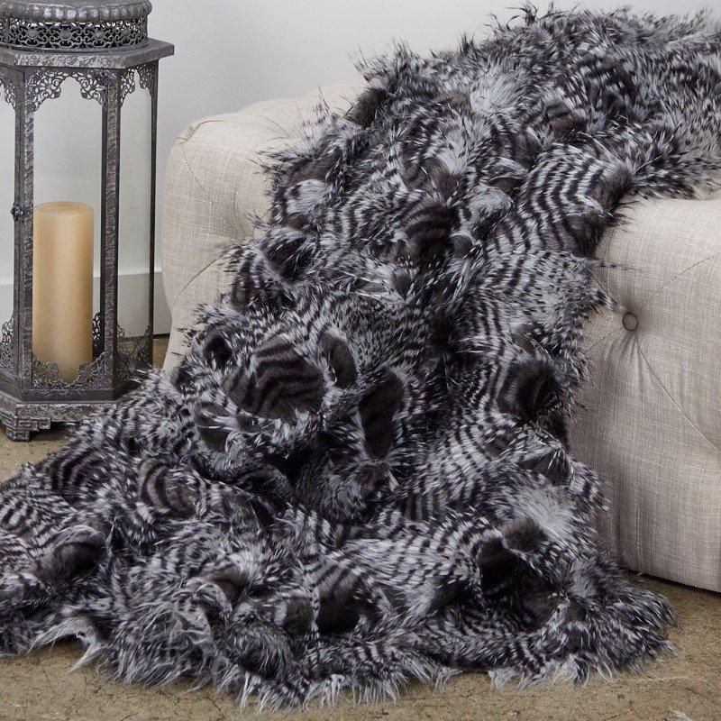 """Plutus Brands Porcupine Grey and Silver Faux Fur Luxury Throw Blanket 70""""L x 90""""W Twin (PBEZ1785-7090-TC)"""