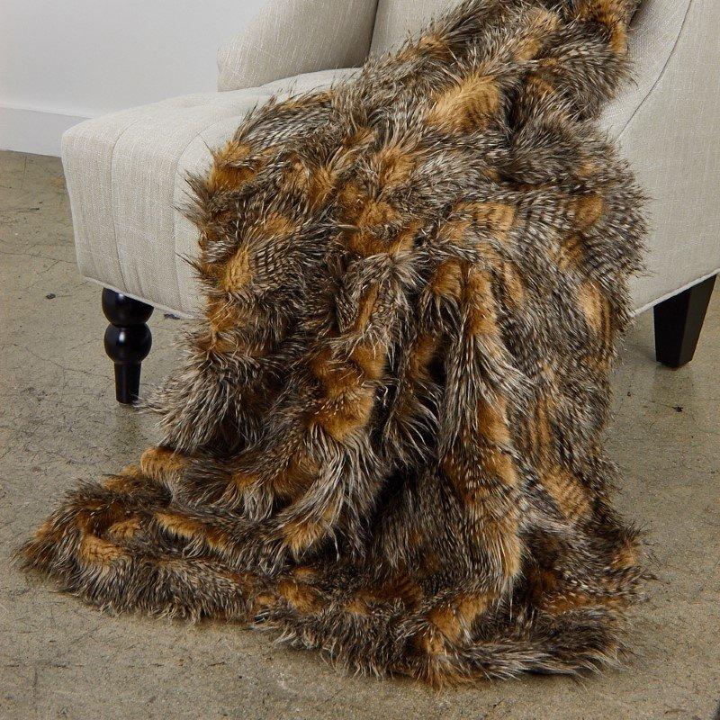 "Plutus Brands Porcupine Mocha Faux Fur Luxury Throw Blanket 80""L x 110""W Full (PBEZ1779-80x110T)"