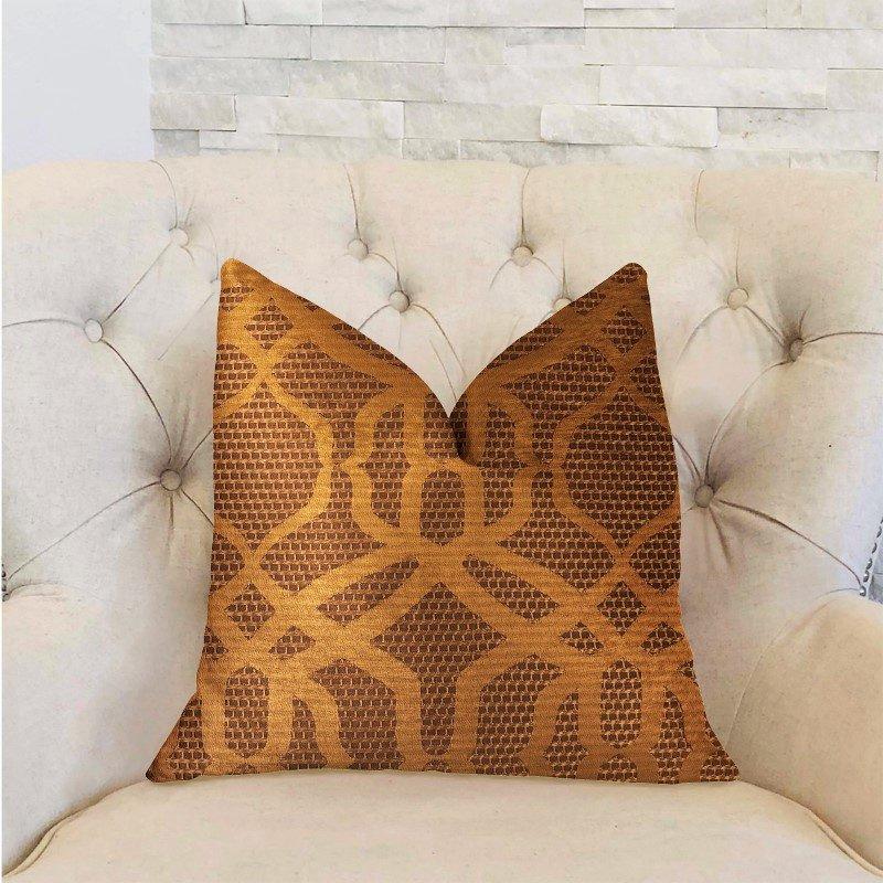 "Plutus Brands Portia Gold and Brown Luxury Throw Pillow 20"" x 30"" Queen (PBRA2297-2030-DP)"