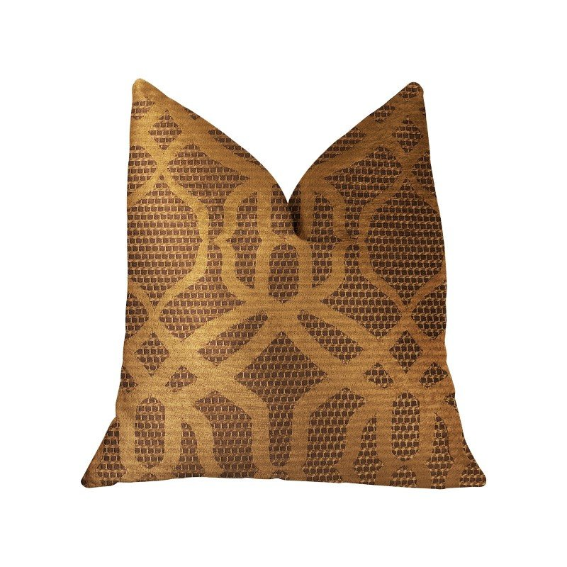 "Plutus Brands Portia Gold and Brown Luxury Throw Pillow 24"" x 24"" (PBRA2297-2424-DP)"
