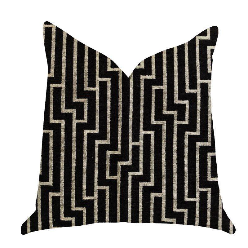 "Plutus Brands Posh Lady Black and Beige Tones Luxury Throw Pillow 20"" x 20"" (PBRA1371-2020-DP)"
