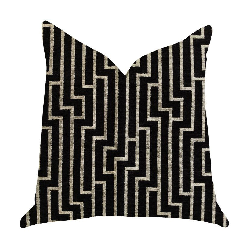 "Plutus Brands Posh Lady Black and Beige Tones Luxury Throw Pillow 24"" x 24"" (PBRA1371-2424-DP)"