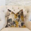 """Plutus Brands Pretty Passion Yellow Beige and Gray Luxury Throw Pillow 24"""" x 24"""" (PBRA2272-2424-DP)"""