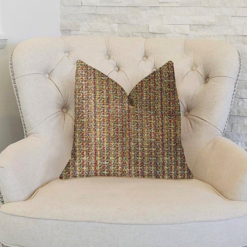 """Plutus Brands Prismatic Red and Brown Luxury Throw Pillow 16"""" x 16"""" (PBKR1928-1616-DP)"""