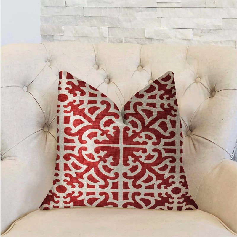 """Plutus Brands Red Romance Red and Beige Luxury Throw Pillow 20"""" x 20"""" (PBRA2279-2020-DP)"""