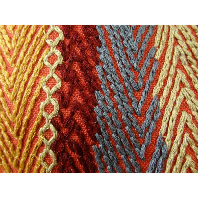 "Plutus Brands Red Sand Red Blue and Orange Handmade Luxury Pillow 12"" x 20"" (PBRAZ035-1220-DP)"