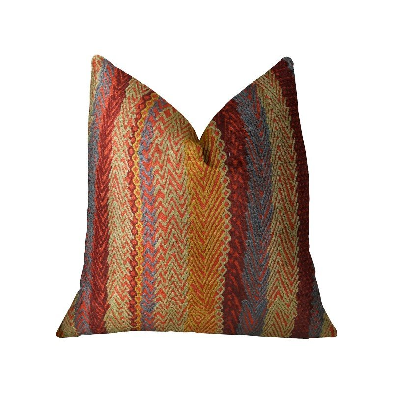 "Plutus Brands Red Sand Red Blue and Orange Handmade Luxury Pillow 20"" x 20"" (PBRAZ035-2020-DP)"