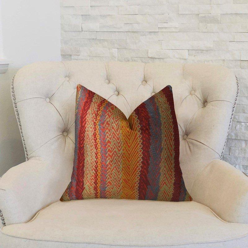 "Plutus Brands Red Sand Red Blue and Orange Handmade Luxury Pillow 26"" x 26"" (PBRAZ035-2626-DP)"