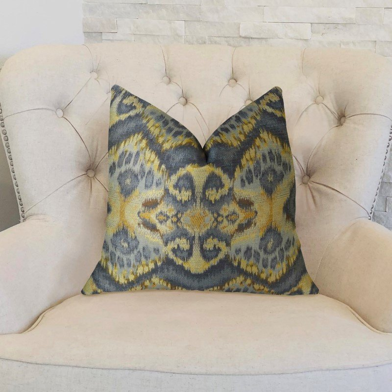 "Plutus Brands Sacred Pixie Blue Navy and Taupe Handmade Luxury Pillow 12"" x 20"" (PBRAZ082-1220-DP)"