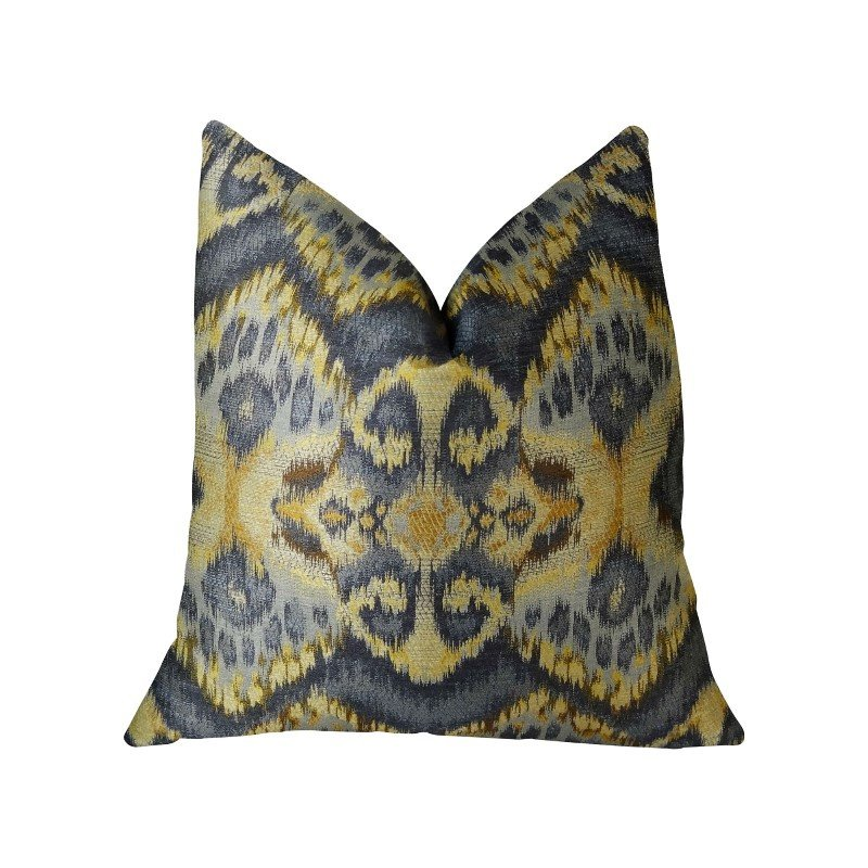 """Plutus Brands Sacred Pixie Blue Navy and Taupe Handmade Luxury Pillow 26"""" x 26"""" (PBRAZ082-2626-DP)"""