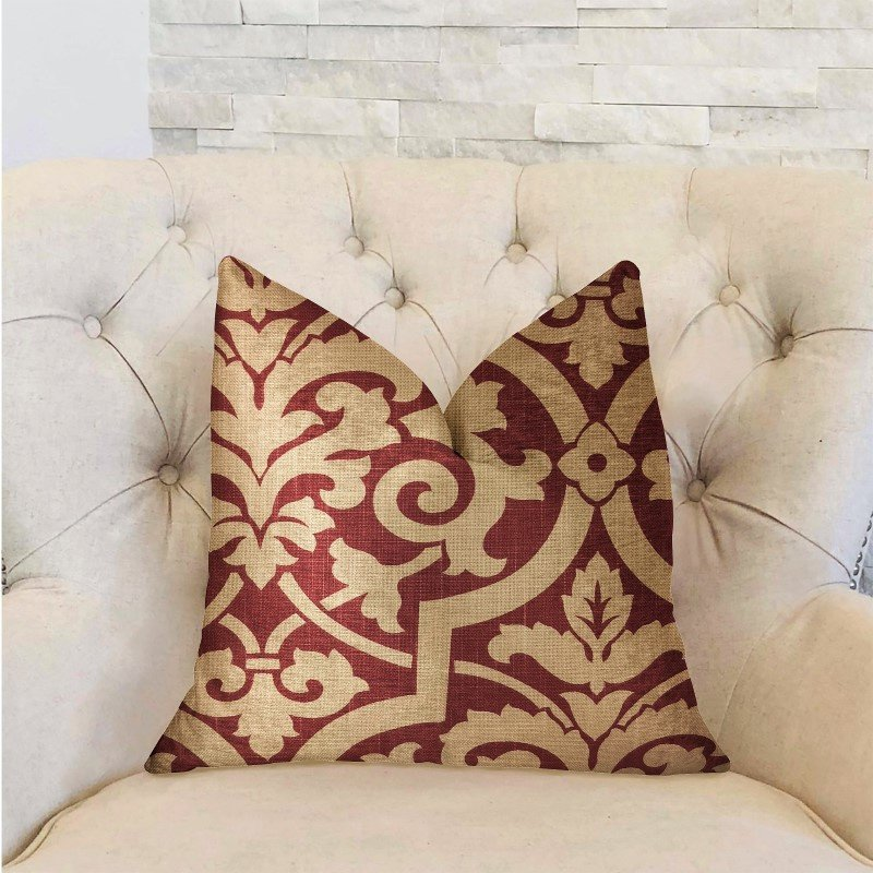 """Plutus Brands Sacred Shield Red and Beige Luxury Throw Pillow 26"""" x 26"""" (PBRA2277-2626-DP)"""