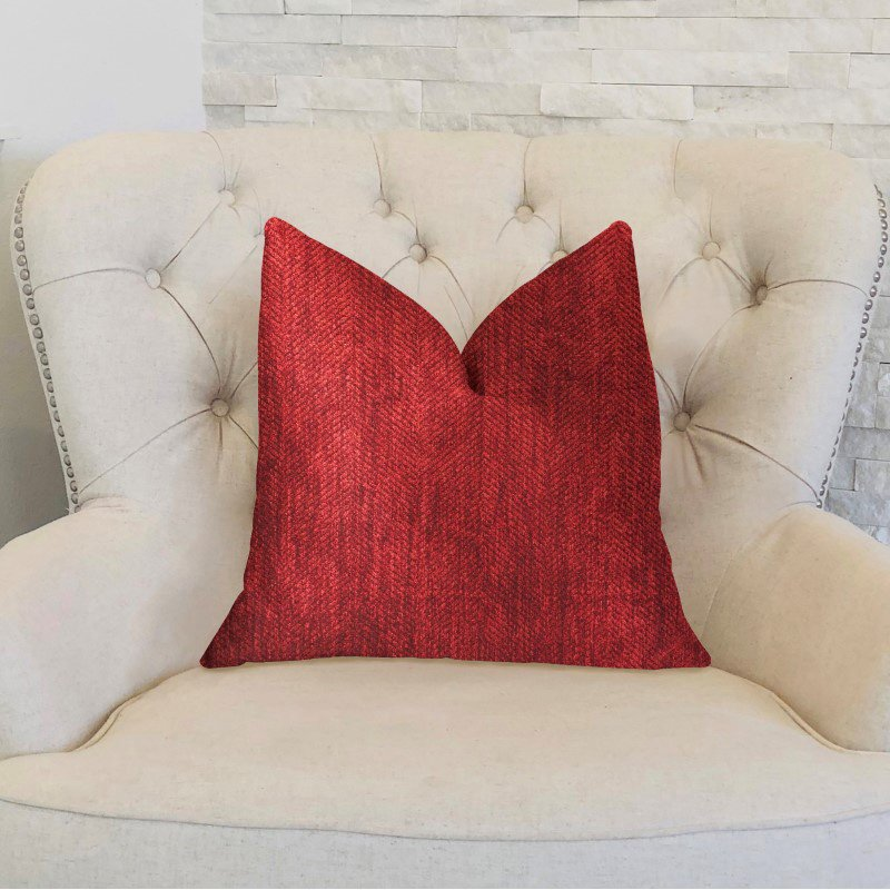 "Plutus Brands Sangria Cherry Red Luxury Throw Pillow 22"" x 22"" (PBKR1964-2222-DP)"