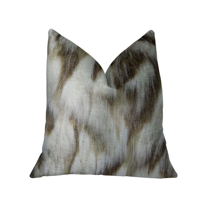 "Plutus Brands Sassy Tibet Fox Ivory Beige Handmade Luxury Pillow Double Sided 16"" x 16"" (PBRAZ455-1616-DP)"