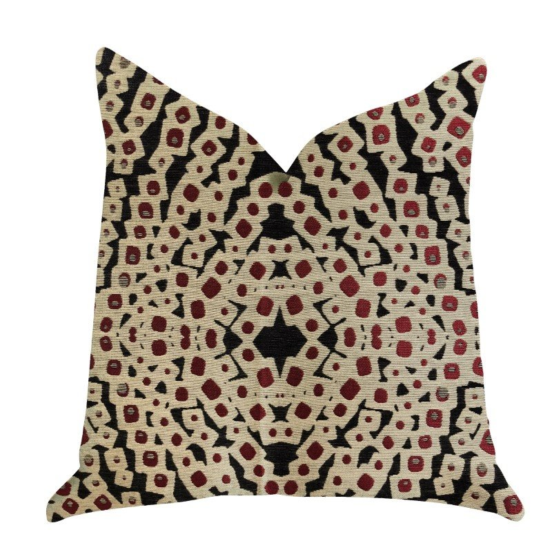 """Plutus Brands Scarlet Gem Luxury Throw Pillow in Red and Black Pillows 24"""" x 24"""" (PBRA1378-2424-DP)"""