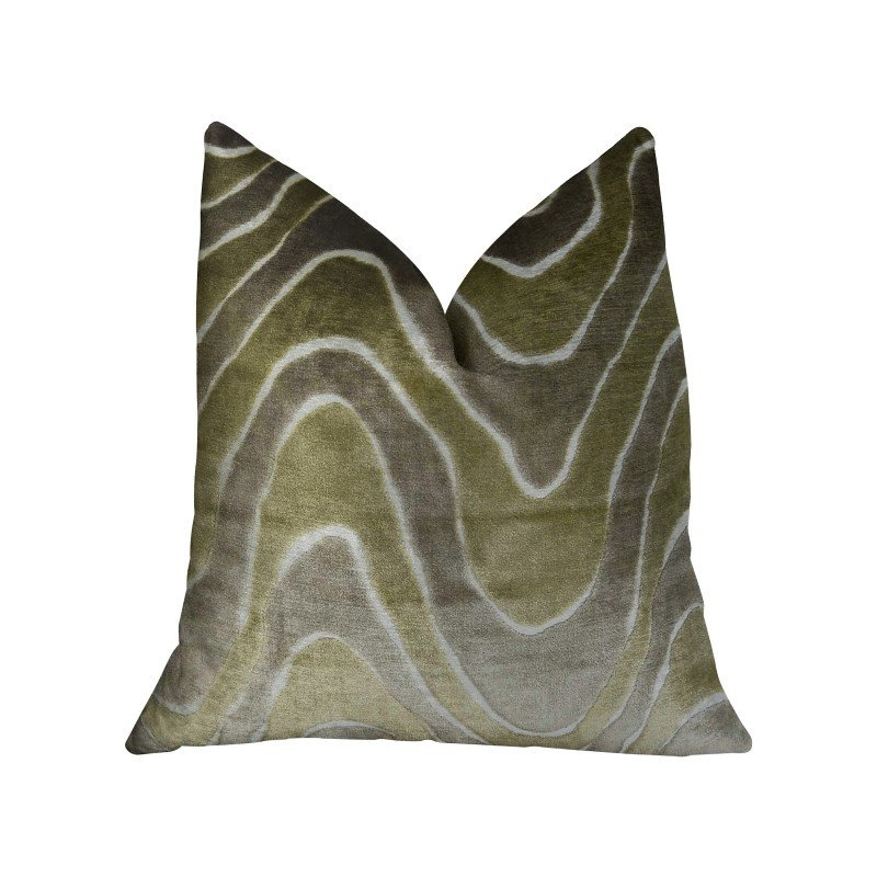 "Plutus Brands Sensous Waves Taupe Ivory Greige Handmade Luxury Pillow 20"" x 36"" King (PBRAZ397-2036-DP)"