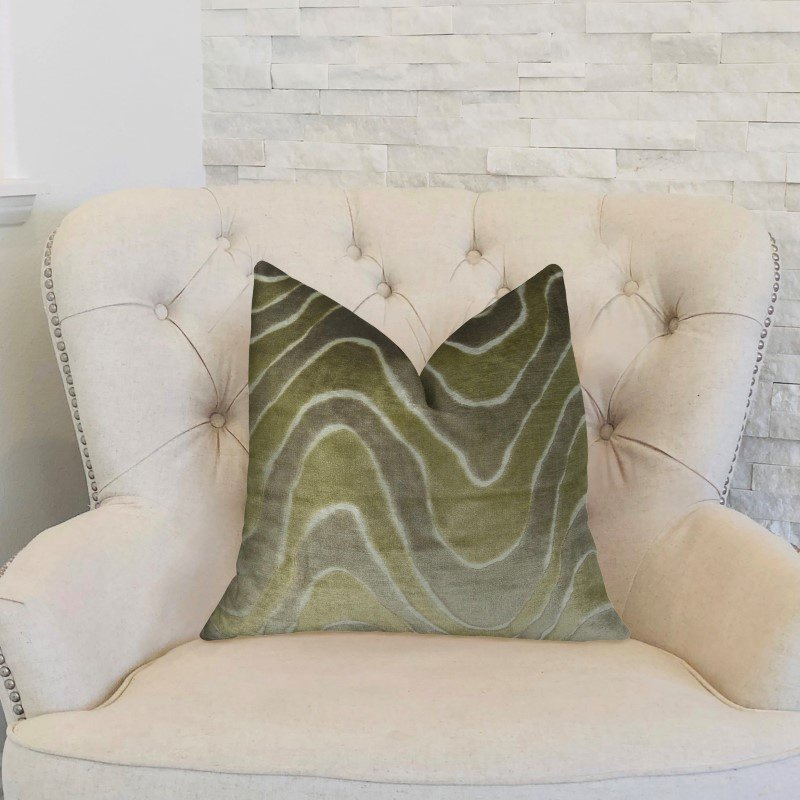 "Plutus Brands Sensous Waves Taupe Ivory Greige Handmade Luxury Pillow Double Sided 12"" x 20"" (PBRAZ397-1220-DP)"