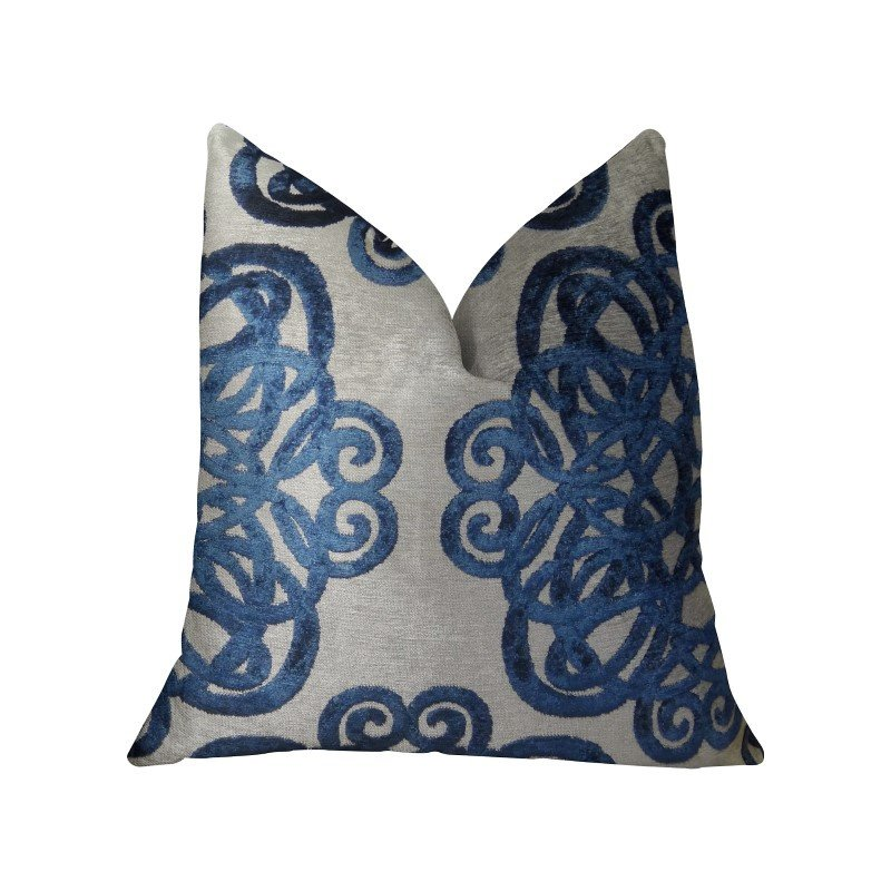 """Plutus Brands Serendepity Navy and Taupe Handmade Luxury Pillow 12"""" x 20"""" (PBRAZ212-1220-DP)"""