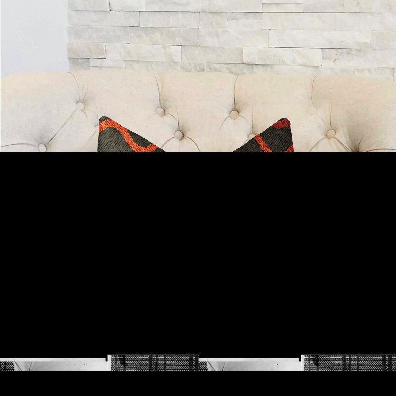 "Plutus Brands Serenity Flow Gray and Orange Luxury Throw Pillow 20"" x 20"" (PBRA2305-2020-DP)"