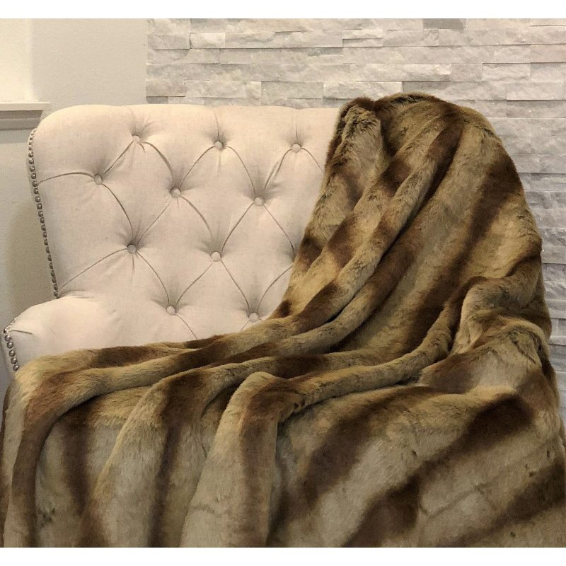"Plutus Brands Sheared Faux Chinchilla Luxury Throw 48""W x 60""L (PBSF1418-4860-TC)"