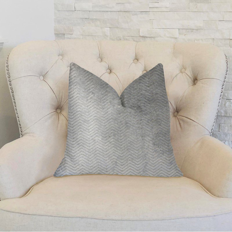 """Plutus Brands Silver Moon Gray and Silver Luxury Throw Pillow 20"""" x 30"""" Queen (PBKR1942-2030-DP)"""