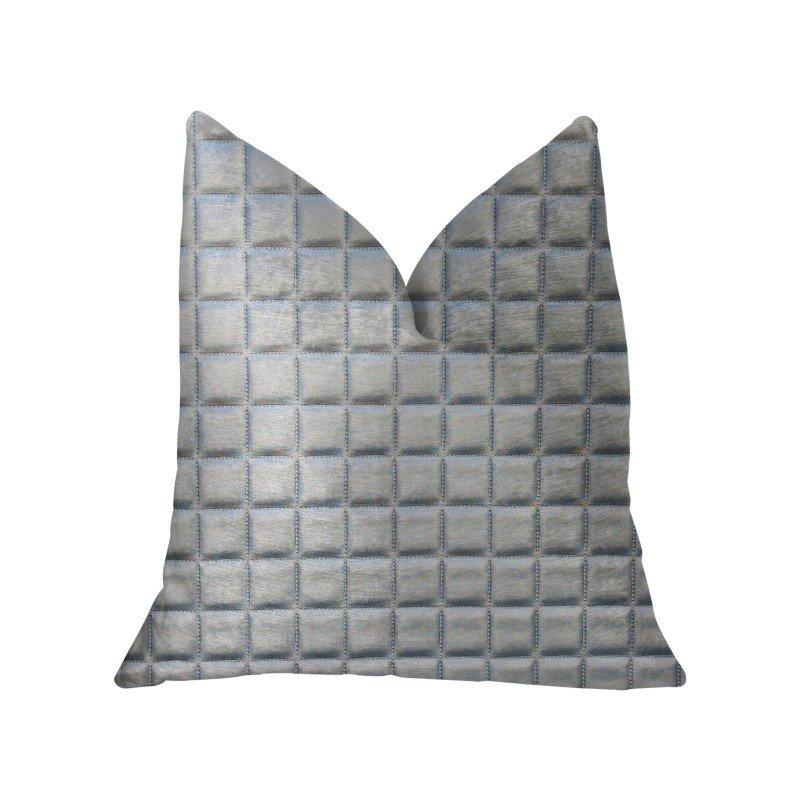 "Plutus Brands Silverton Silver Artificial Leather Luxury Throw Pillow 16"" x 16"" (PBKR1958-1616-DP)"
