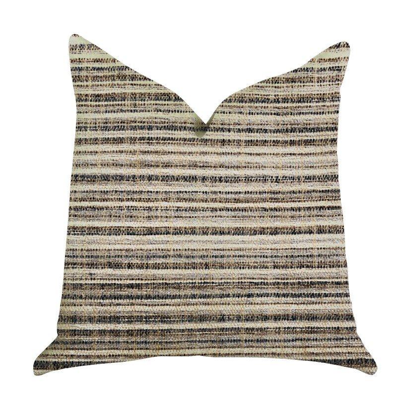 "Plutus Brands Skyway Lines Luxury Brown-Beige Multi Tones Throw Pillow 18"" x 18"" (PBRA1340-1818-DP)"