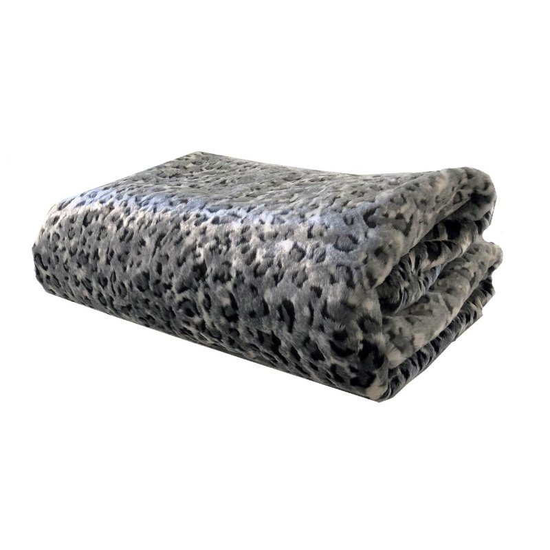 "Plutus Brands Snow Leopard Faux Fur Gray Luxury Throw Blanket 96""L x 110""W Queen (PBEZ1665-96x110T)"