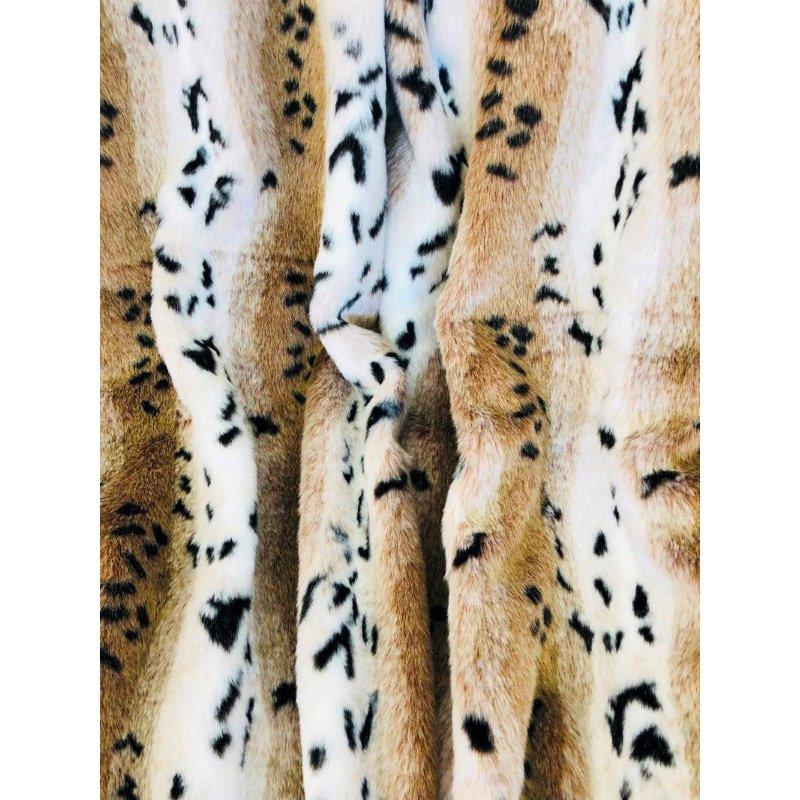 """Plutus Brands Snow Lynx Faux Fur Luxury Throw 60""""W x 90""""L (PBEZ1666-6090-TC)"""