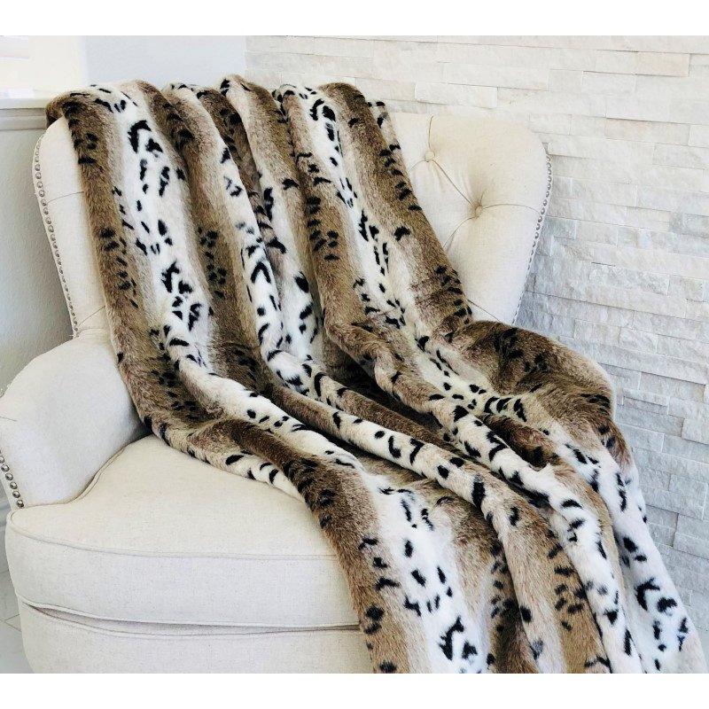 "Plutus Brands Snow Lynx Faux Fur Luxury Throw Blanket 102""L x 116""W California King (PBEZ1666-102x116)"