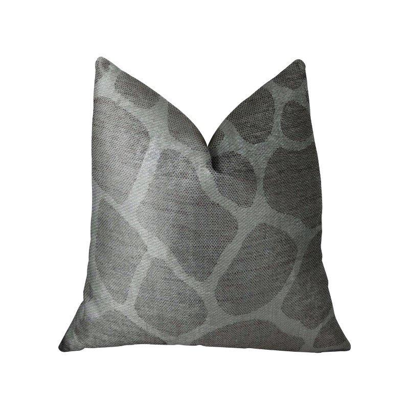 """Plutus Brands Soft Giraffe Gray and White Handmade Luxury Pillow 22"""" x 22"""" (PBRAZ197-2222-DP)"""