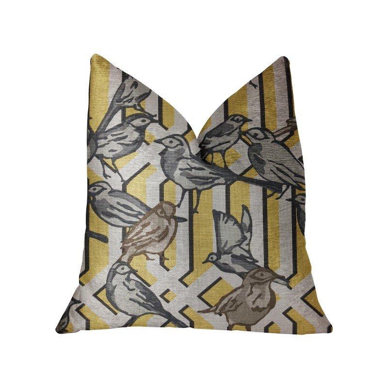 "Plutus Brands Song Bird Gardens Yellow Beige and Gray Luxury Throw Pillow 12"" x 20"" (PBRA2286-1220-DP)"