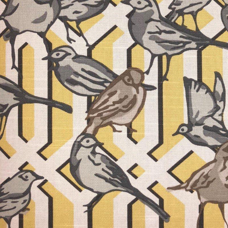 "Plutus Brands Song Bird Gardens Yellow Beige and Gray Luxury Throw Pillow 20"" x 36"" King (PBRA2286-2036-DP)"