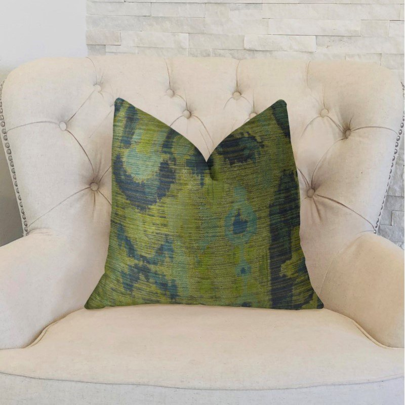 "Plutus Brands Sonoma Canyon Green Navy and Blue Handmade Luxury Pillow 22"" x 22"" (PBRAZ368-2222-DP)"