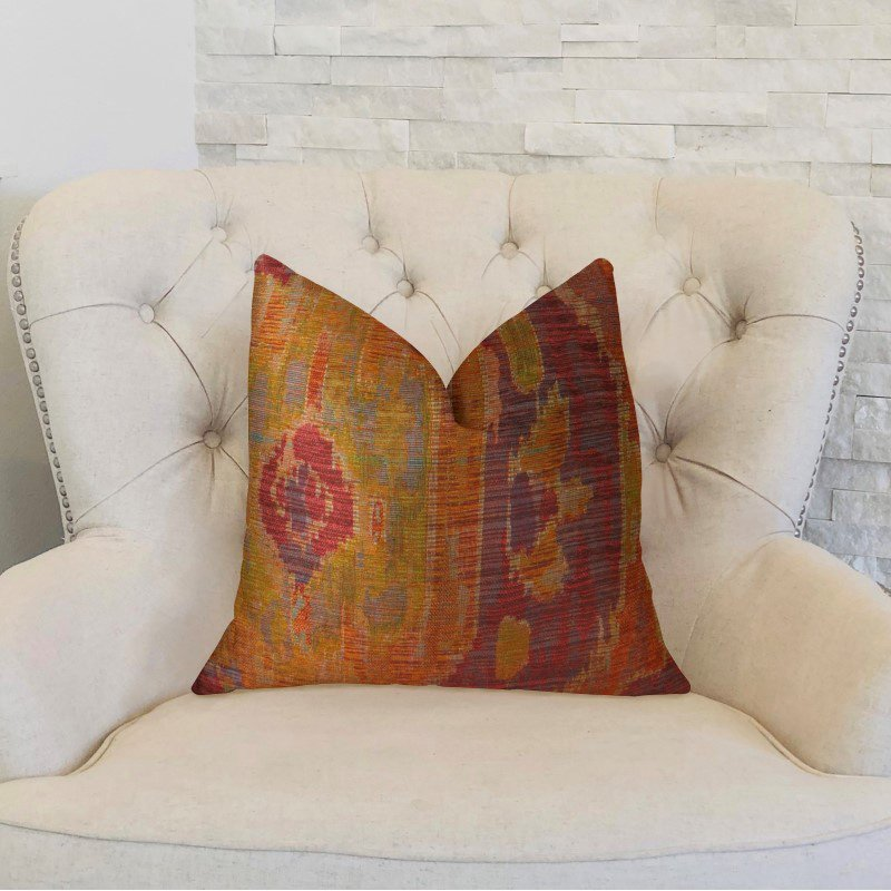"""Plutus Brands Sonoma Canyon Magenta Coral and Blue Handmade Luxury Pillow 18"""" x 18"""" (PBRAZ372-1818-DP)"""