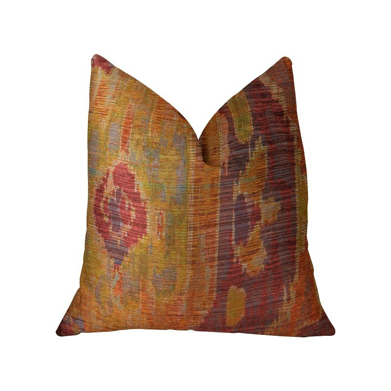 """Plutus Brands Sonoma Canyon Magenta Coral and Blue Handmade Luxury Pillow 26"""" x 26"""" (PBRAZ372-2626-DP)"""