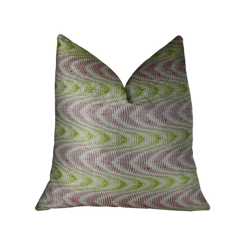 "Plutus Brands Sound Waves Beet Citrine Ivory Handmade Luxury Pillow Double Sided 12"" x 20"" (PBRAZ399-1220-DP)"