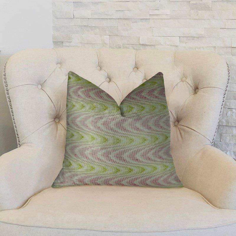 "Plutus Brands Sound Waves Beet Citrine Ivory Handmade Luxury Pillow Double Sided 18"" x 18"" (PBRAZ399-1818-DP)"