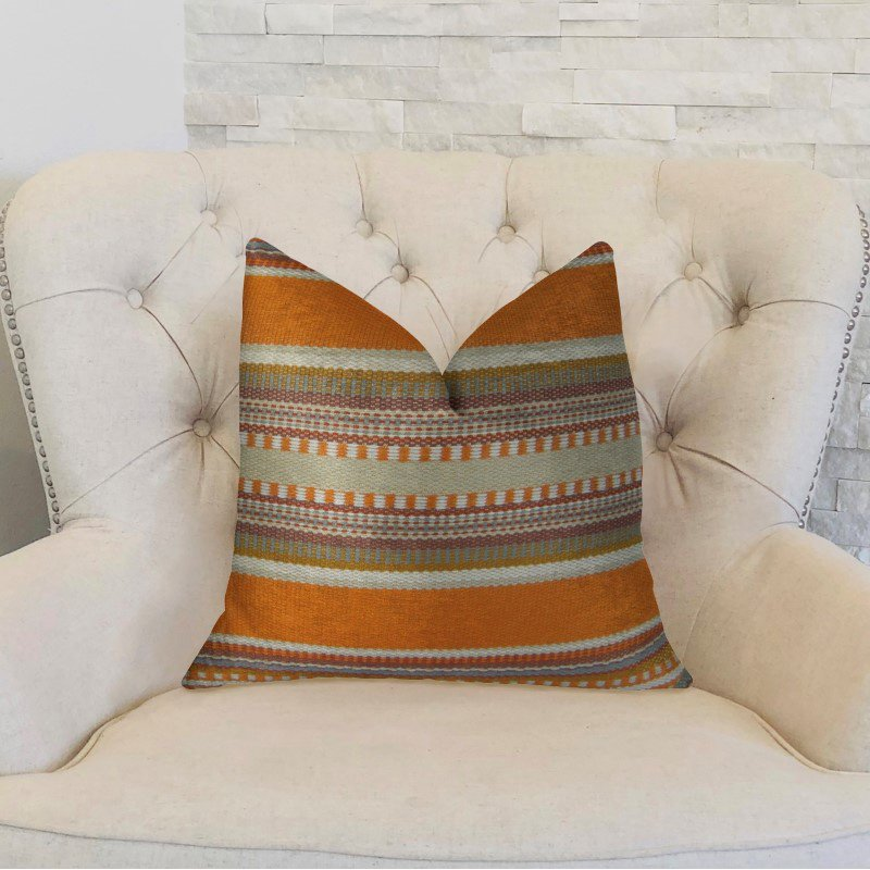 "Plutus Brands South Shore Amber Orange Olive and Cream Handmade Luxury Pillow 20"" x 30"" Queen (PBRAZ314-2030-DP)"