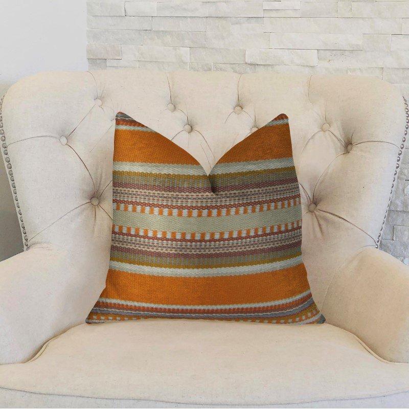 "Plutus Brands South Shore Amber Orange Olive and Cream Handmade Luxury Pillow 26"" x 26"" (PBRAZ314-2626-DP)"