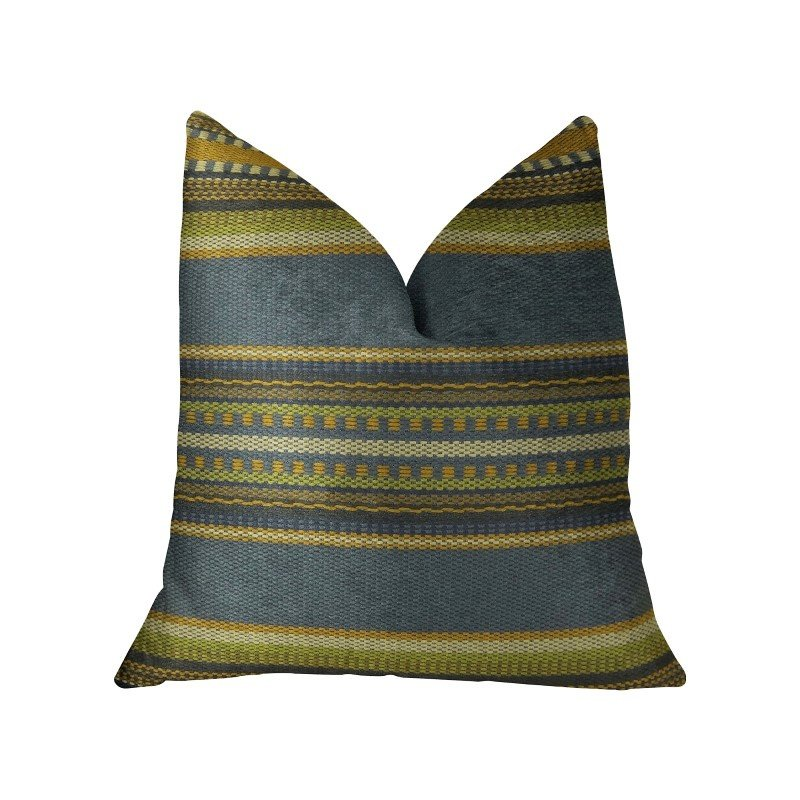"Plutus Brands South Shore Dark Blue Olive Green and Cream Handmade Luxury Pillow 20"" x 26"" Standard (PBRAZ312-2026-DP)"