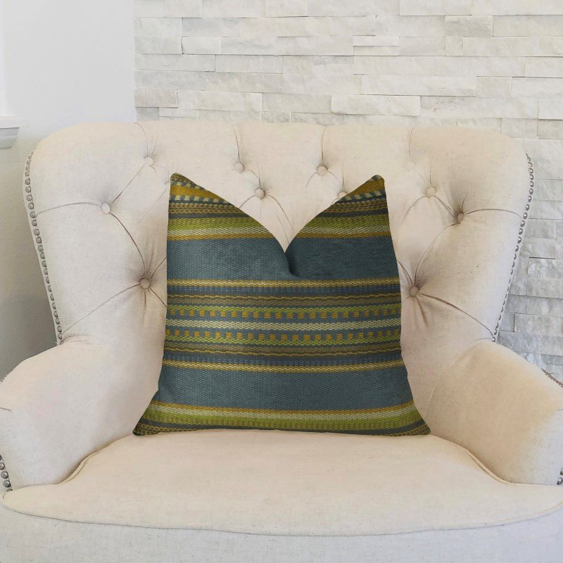 "Plutus Brands South Shore Dark Blue Olive Green and Cream Handmade Luxury Pillow 24"" x 24"" (PBRAZ312-2424-DP)"