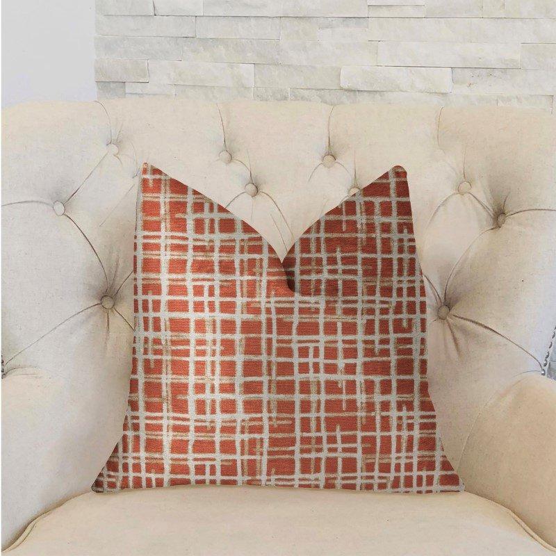 "Plutus Brands Spiced Fields Orange and Beige Luxury Throw Pillow 16"" x 16"" (PBRA2259-1616-DP)"