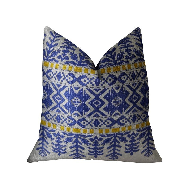 "Plutus Brands Splendid Aztec Blue and White Handmade Luxury Pillow 12"" x 20"" (PBRAZ071-1220-DP)"
