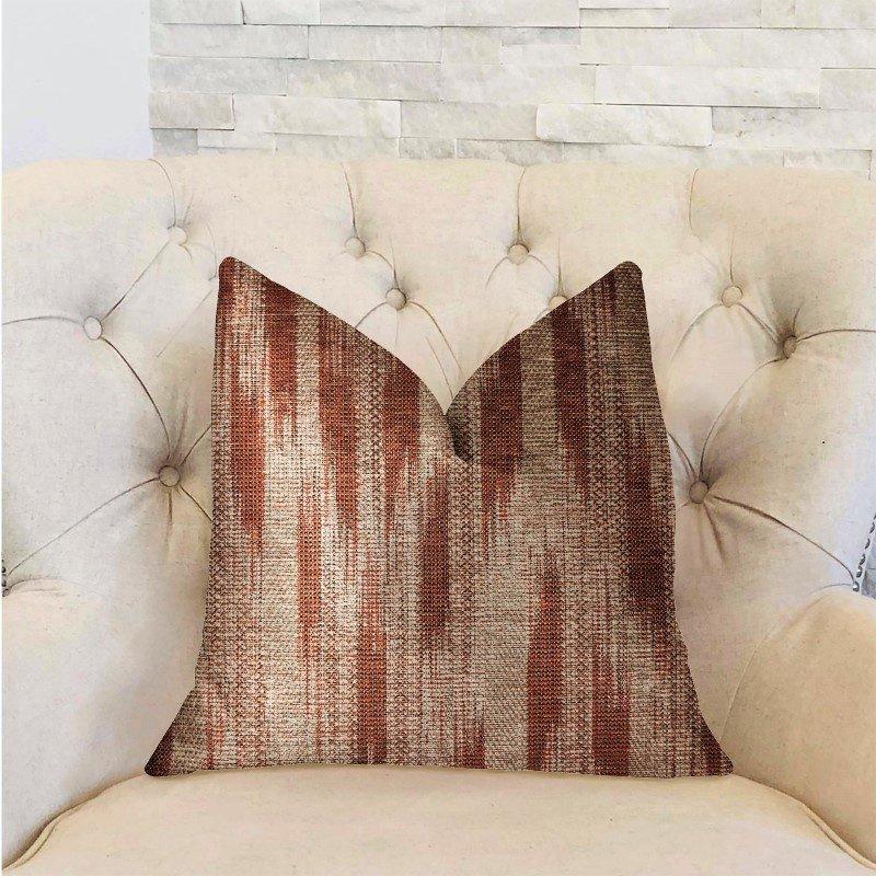 "Plutus Brands Stormy Pine Orange and Beige Luxury Throw Pillow 20"" x 26"" Standard (PBRA2300-2026-DP)"