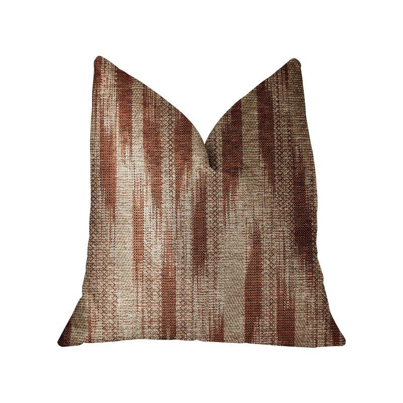 "Plutus Brands Stormy Pine Orange and Beige Luxury Throw Pillow 24"" x 24"" (PBRA2300-2424-DP)"