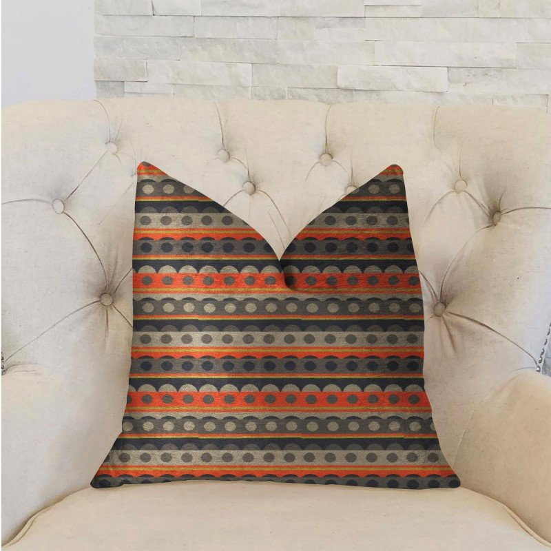 """Plutus Brands Story Circle Red Blue and Gray Luxury Throw Pillow 16"""" x 16"""" (PBRA2209-1616-DP)"""