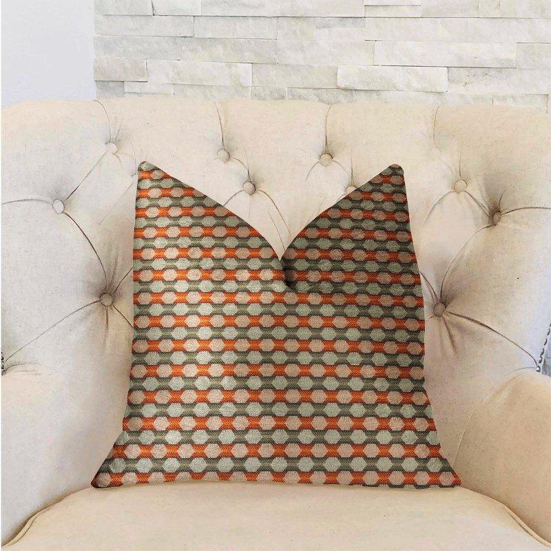 "Plutus Brands Sunny Cave Orange and Beige Luxury Throw Pillow 18"" x 18"" (PBRA2299-1818-DP)"