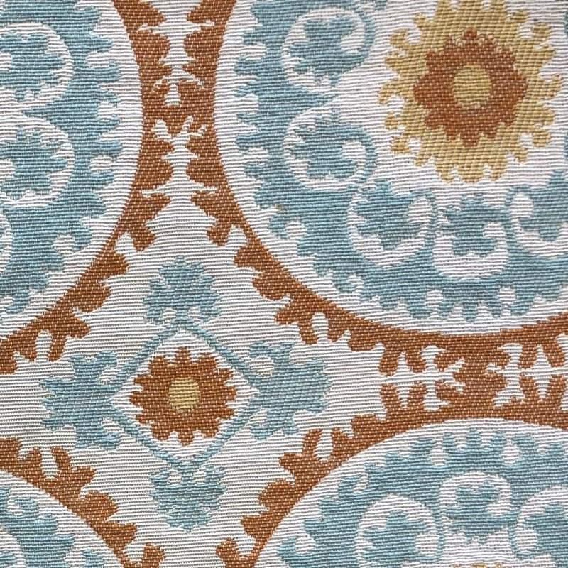 "Plutus Brands Sunset Cottage Orange Blue and Ivory Luxury Throw Pillow 26"" x 26"" (PBKR1952-2626-DP)"