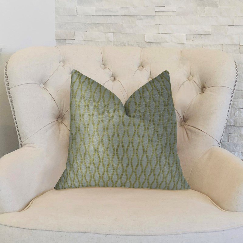"Plutus Brands Swan Creek Cream and Gold Handmade Luxury Pillow 20"" x 20"" (PBRAZ305-2020-DP)"